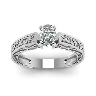 14k White Gold 1/2ct TDW Solitaire Diamond Engagement Ring