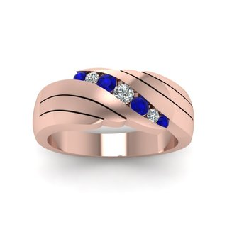14k Rose Gold 1/6ct Round Cut Diamond & Sapphire Wide Wedding Band