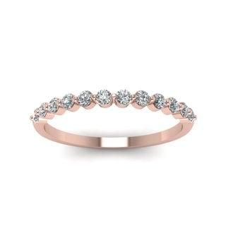 14k Rose Gold 1/5 Carat Round Cut Diamond Wedding Band