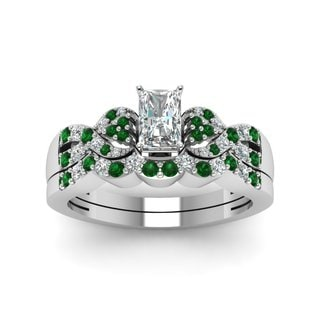 14k White Gold 1/2ct TDW Diamond and Emerald Bridal Set (E-F/Green, VS1, VS2)