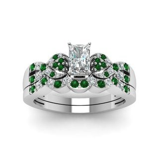 14k White Gold 1/2ct TDW Diamond and Emerald Bridal Set