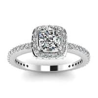 14k White Gold 1 1/5ct TDW White Diamond Halo GIA Certified Ring