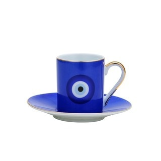 Blue Porcelain 12-piece Tea or Coffee Cup and Saucer Set