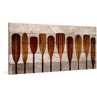 Parvez Taj - 'Canoe Paddles' Painting Print on Reclaimed Wood