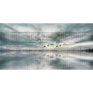 Parvez Taj - 'Birds Skylight' Painting Print on Reclaimed Wood