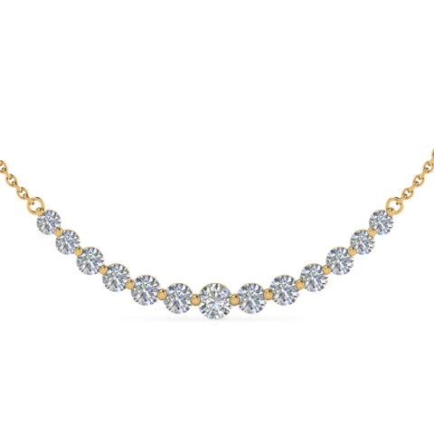14k Yellow Gold 1ct TDW White Diamond Graduated Necklace