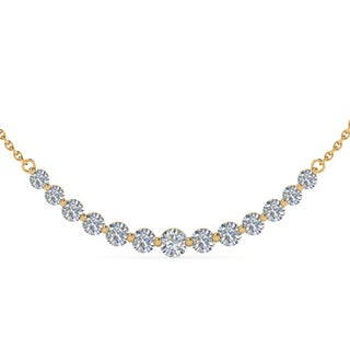 14k Yellow Gold 1ct TDW White Diamond Graduated Necklace (G-H, SI1-SI2)