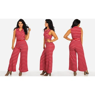 Juniors' Striped Belted Wide Leg Sleeveless Jumpsuit