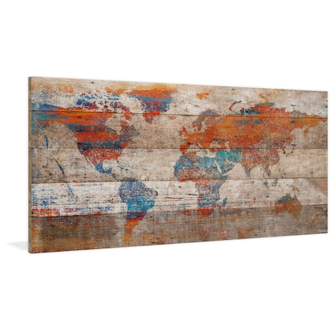 Handmade Parvez Taj - Warm World Print on Reclaimed Wood