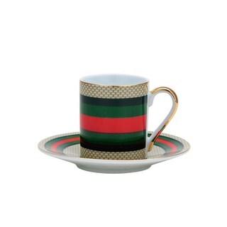 Striped Porcelain Tea Coffee Cup and Saucer 12-piece Set