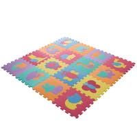 Interlocking Foam Tile Play Mat with Animals - Nontoxic Children's Multicolor Puzzle Tiles by Hey! Play!
