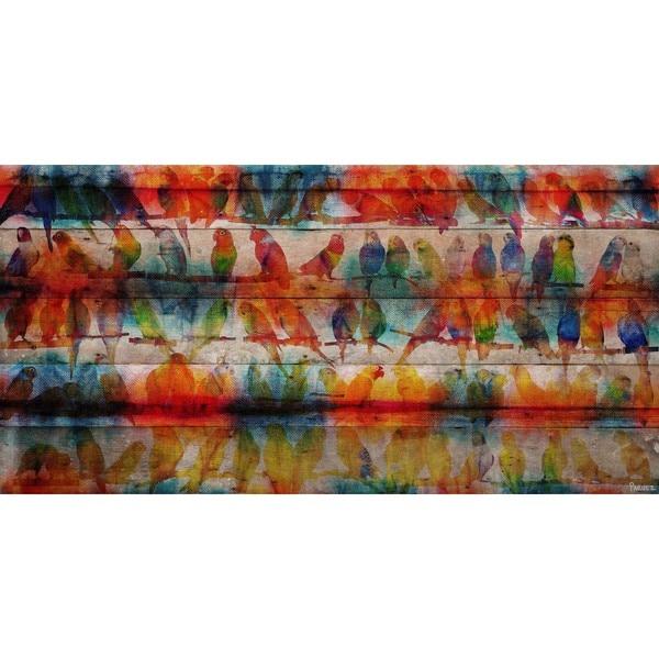 Handmade Parvez Taj - Colorful Birds Print on Reclaimed Wood