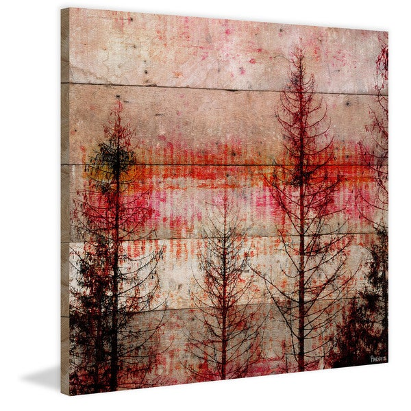 Handmade Parvez Taj - Red Enchanted Forest Print on Reclaimed Wood