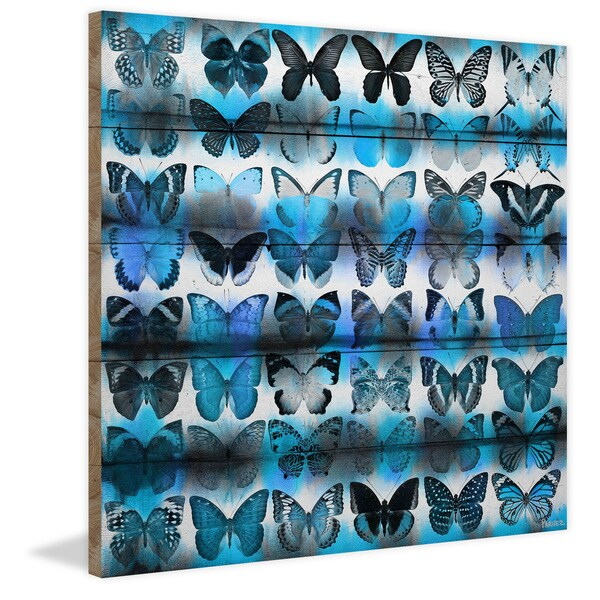 Handmade Parvez Taj - Moth Blue Print on Reclaimed Wood