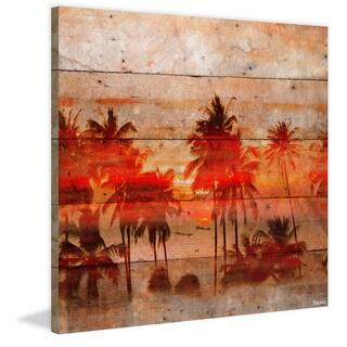 Handmade Parvez Taj - Crimson Palms Print on Reclaimed Wood