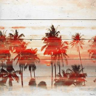 Handmade Parvez Taj - Glowing Red Palms Print on Reclaimed Wood
