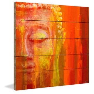 Handmade Parvez Taj - Buddha Print on Reclaimed Wood