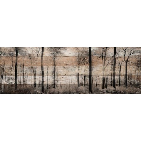 Handmade Parvez Taj - Panoramic Forest Print on Reclaimed Wood