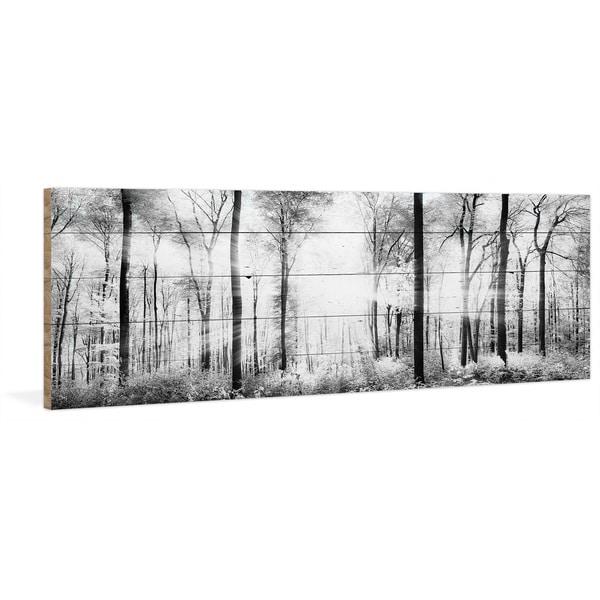 Handmade Parvez Taj - White Light Forest Print on Reclaimed Wood