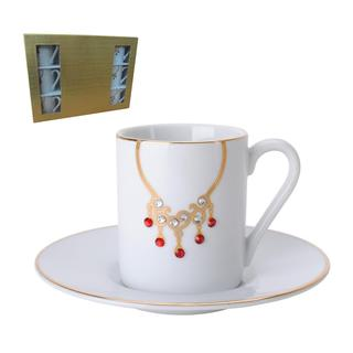White Porcelain 12-piece Tea and Coffee Cup and Saucer Set