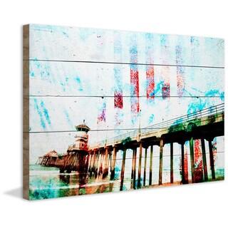 Parvez Taj - 'Huntington Beach Pier' Painting Print on Reclaimed Wood