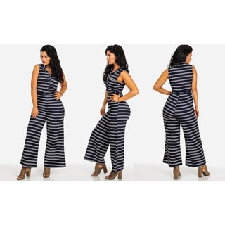 Women's Blue and White Striped Belted Wide Leg Sleeveless Jumpsuit