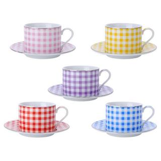 Multicolored Porcelain Tea Coffee Cup and Saucer 12-piece Set