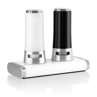 Belmint Blumwares Black and White Steel 3-piece Salt and Pepper Shakers and Magnetic Stand Set