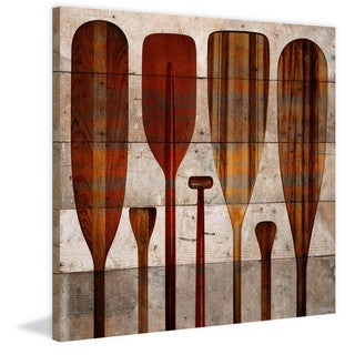 Handmade Parvez Taj - Paddles Print on Reclaimed Wood