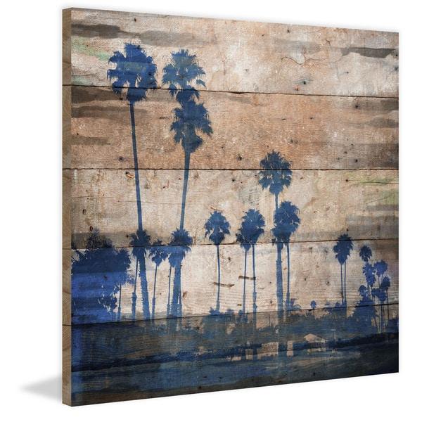 Handmade Parvez Taj - Blue Palms Print on Reclaimed Wood