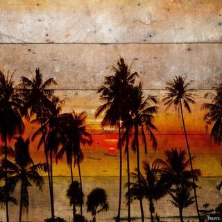 Handmade Parvez Taj - Sunset Palms Print on Reclaimed Wood