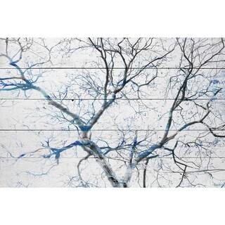Handmade Parvez Taj - Blue Branches Print on Reclaimed Wood