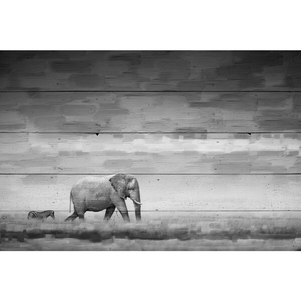 Handmade Parvez Taj - Elephant Print on Reclaimed Wood