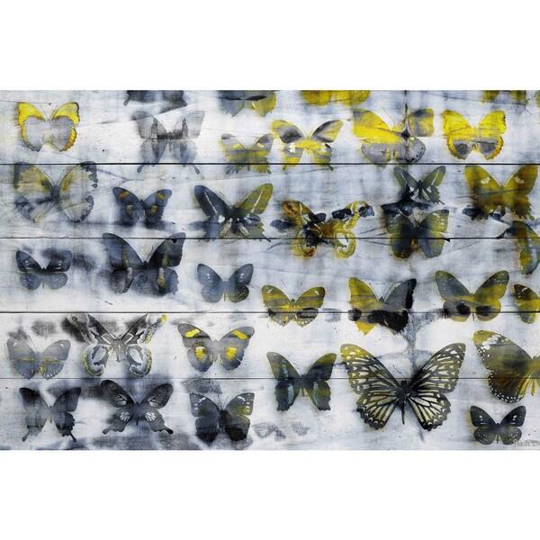 Handmade Parvez Taj - Yellow Wings Print on Reclaimed Wood