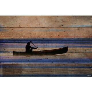 Parvez Taj - 'Canoe on Calm Lake' Painting Print on Reclaimed Wood (4 options available)