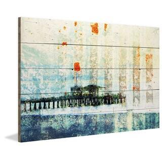 Parvez Taj - 'Santa Monica Pier' Painting Print on Reclaimed Wood