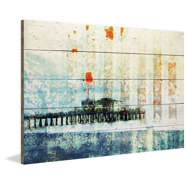 Handmade Parvez Taj - Santa Monica Pier Print on Reclaimed Wood