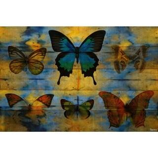Handmade Parvez Taj - Lepidoptera Print on Reclaimed Wood