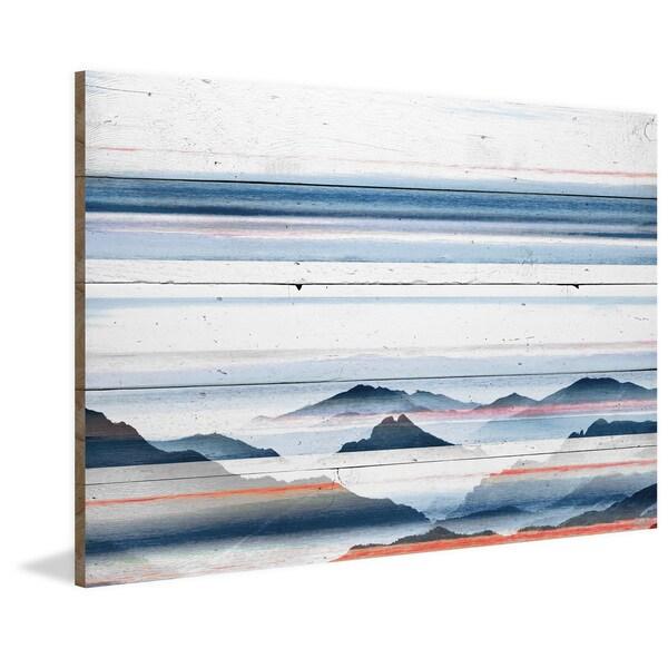 Handmade Parvez Taj - Hidden Blue Mountains Print on Reclaimed Wood
