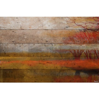 Parvez Taj - 'Lake Morning Mist' Painting Print on Reclaimed Wood