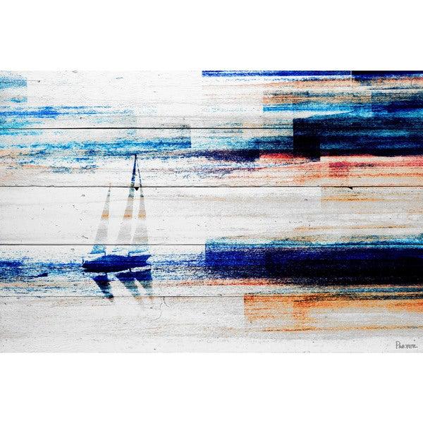 Handmade Parvez Taj - Aegean Sea Print on Reclaimed Wood