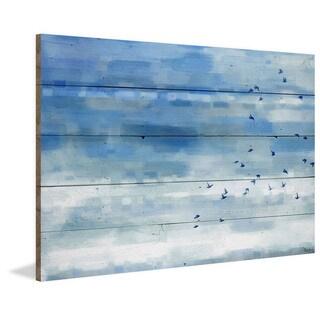 Handmade Parvez Taj - Blue Sky Birds Print on Reclaimed Wood