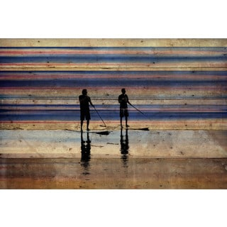 Parvez Taj - 'Beach Surf' Painting Print on Reclaimed Wood
