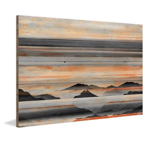 Parvez Taj - 'Desert Mountains' Painting Print on Reclaimed Wood - Multi-color
