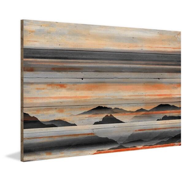 Handmade Parvez Taj - Desert Mountains Print on Reclaimed Wood