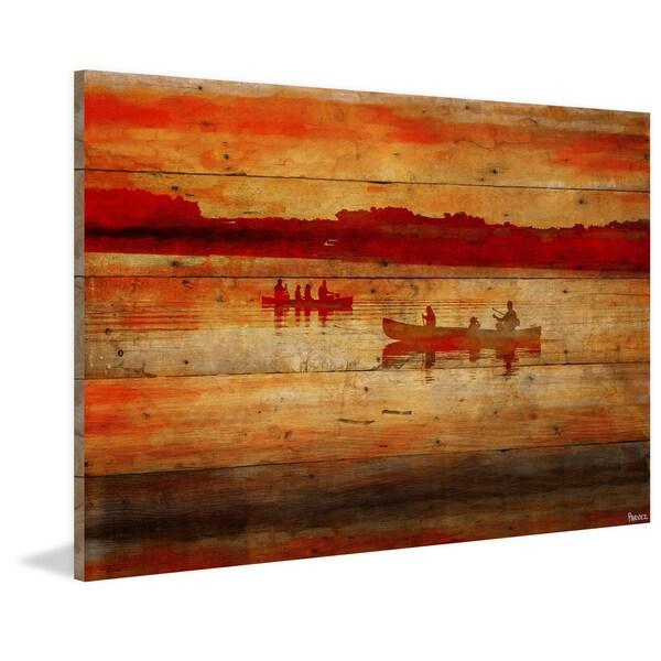 Handmade Parvez Taj - Sunset Paddle Print on Reclaimed Wood