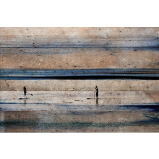 Parvez Taj - 'Surfboard Paddling' Painting Print on Reclaimed Wood