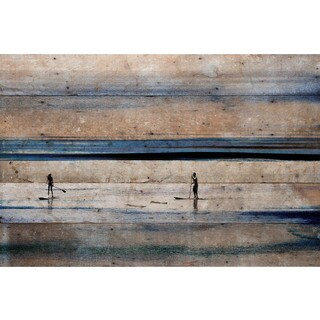 Parvez Taj - 'Surfboard Paddling' Painting Print on Reclaimed Wood - Multi-color (4 options available)