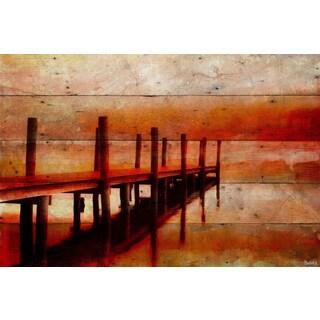 Parvez Taj - 'Sunset Dock' Painting Print on Reclaimed Wood