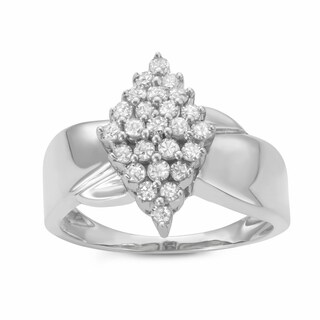 1/2CTTW Marquise-shaped Diamond Cluster Warerfall Ring in Sterling Silver